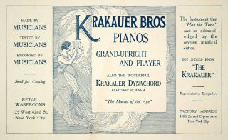 1917 Ad Krakauer Dynachord Brothers Piano Musical Instrument Electric