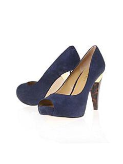 Nine West Hotnhere Peep Toe Court Shoes Navy