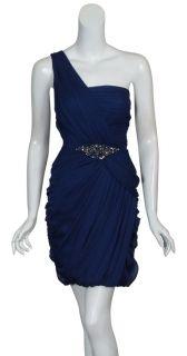 Kurt Thomas Navy One Shoulder Silk Chiffon Dress 8 New