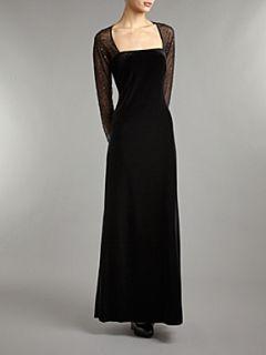 JS Collections Long sleeve velvet beaded mesh maxi dress Black