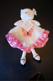 New Kyle Deena White Pink Bear Lovey Security Blanket Pink Satin Trim