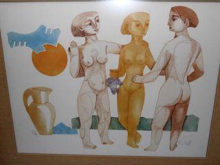 Vintage 60s Abram Krol Modern Art Serigraph Listed Jewish Mid Century
