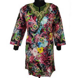 Long Summer Kurti Multicolor Tunic Floral Top Ladies Cotton Beach