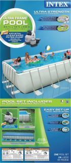 Intex 24 x 12 x 52 Ultra Frame Rectangular Swimming Pool Set