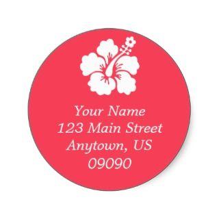Lone Hibiscus Flower Address Label (Coral) Round Sticker