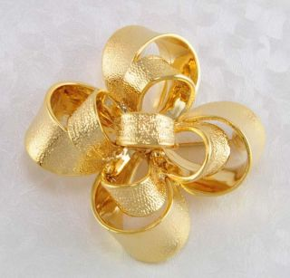 Kenneth J Lane 14kt Yellow Gold EP 3 D Festive Bow Designer Pin KJL