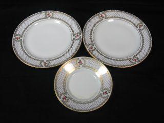 Elite Limoges France Lot 3 Blue Gold Rose Plate Set