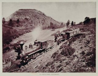 1893 Print Steam Engine Train La Veta Pass Colorado Original