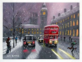 Pete Rumney Art Snow in Town London Big Ben Black Cab Double Decker