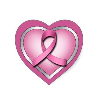Pink Ribbon Heart ~ Heart Shaped Stickers
