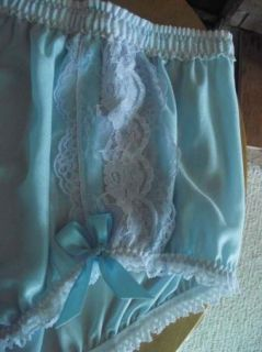Lacey Blue Handmade Sissy Panties Lav White Lace w Satin Ribbon Bows