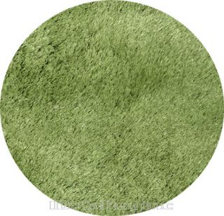 3x3 Round Rug Silk Shaggy Modern Contemporary Shag 1 inch Thick Green