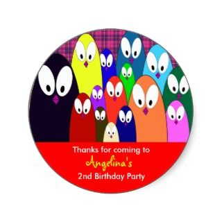 Kids birthday Thank You Stickers Penguins