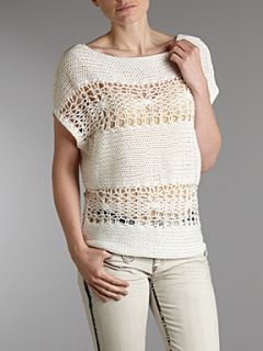 Stefanel Boat neck sweater Washed White