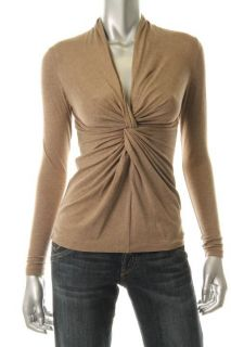 Lafayette 148 New Tan Heathered Knot Front Long Sleeve Pullover Top