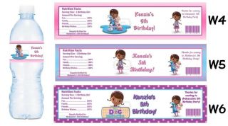Doc McStuffins Printed Water Bottle Labels Birthday Party Favors