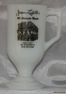 Jean Lafittes Absinthe House New Orleans Souvenir White Milk Glass