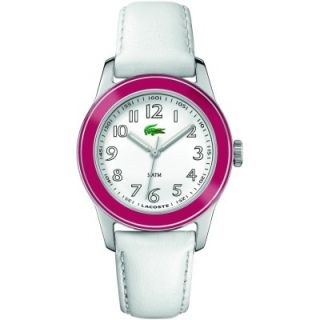 Lacoste 2000455 Womens White Red Leather Strap Watch