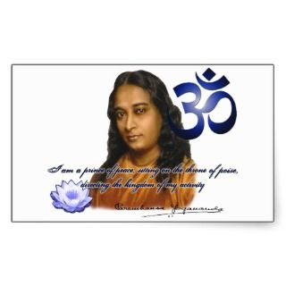 Om Aum Symbol Paramahansa Yogananda Quote Color Rectangular Sticker