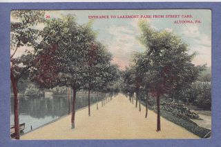 Altoona PA Vintage PC Entrance to Lakemont Park from Street Cars 1908