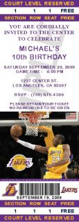 12 Los Angeles Lakers Birthday Ticket Invitations