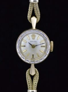 Vintage Ladies Rolex Watch 14k Solid Yellow Gold Manual Wind Diamond