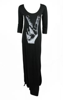Lauren Moshi Womens Black Lala Peace Sign 3 4 Sleeve Maxi Dress XS $