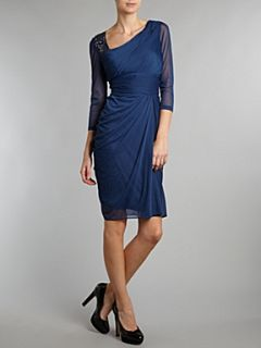Adrianna Papell Evening Long sleeved draped dress Blue