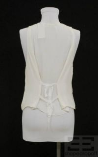 Agence White Silver Studded Silk Open Front Vest Size 1 New $348