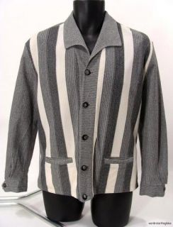 50s 60s mens GRAY STRIPED WINDBREAKER Shirt Jac Jacket rockabilly M L