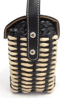 LAMBERTSON Truex Black Leather Straw Baguette Handbag