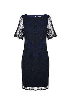 Alexon Blue and black lace dress Black