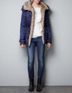 Zara Navy Blue Fur Lined Parka Jacket Coat Size XS