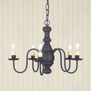 Lancaster 5 arm Wooden Chandelier in Black / Red  Primitive Country