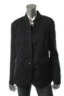 Lafayette 148 New Navy Mandarin Collar Button Front Jacket Blazer 12
