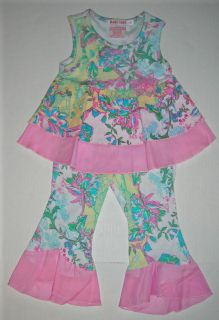 Baby Nay Bird Trellis Ruffle Top Pant Set New 24M 2T