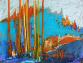 Original Abstract Blue Landscape Pastel Painting JMW Art John Williams