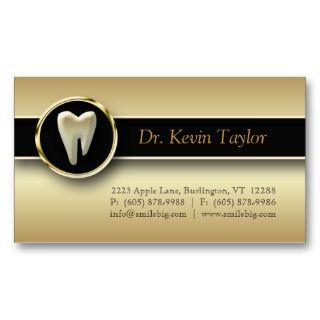Dental Molar Business Card Gold Metallic