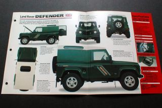 1997 Land Rover Defender 90 TDI Photo Spec Imp Brochure