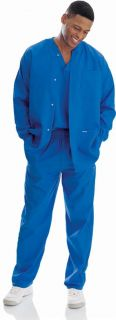 New Landau 7551 Mens Warm Up Jacket Royal Blue Medical Nurse Scrubs