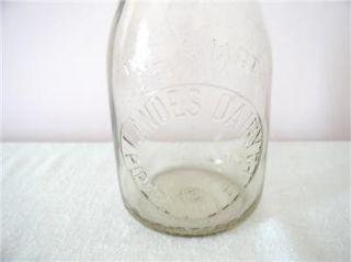 Bucks County Landes Dairy Pipersville PA TRQ Quart Milk Bottle