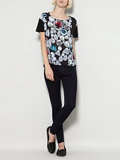 Therapy Jewel graphic print front woven tee black multi