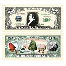 Ohio State Dollar Bills The Buckeye State 2 $1 00