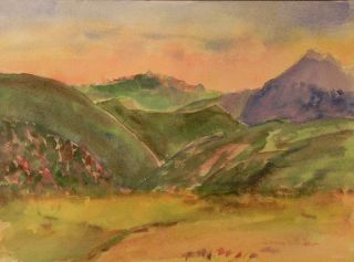 Watercolor Sunset Mountains Landscape Joan Winter Painting Art