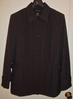 Lane Bryant Ladies Pin Striped Brown Jacket Size 20 New