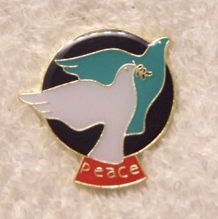 Peace Dove Lapel Pin War Love Olive Branch Pigeon Bird Animal Feather
