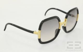 Ted Lapidus Vintage Black Gold Retro Oversized Square Frame Sunglasses