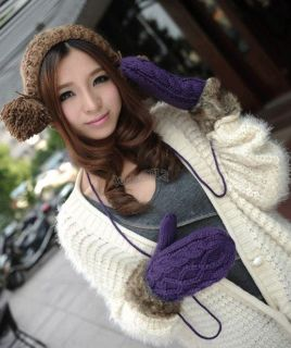 1pair 650466 New Womens Purple Winter Warm Knitted Fleece Lined