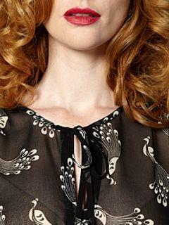 Biba Peacock print long sleeve blouse Multi Coloured