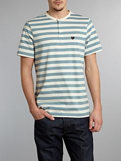 Lyle and Scott Stripe henley T shirt Royal Blue Marl